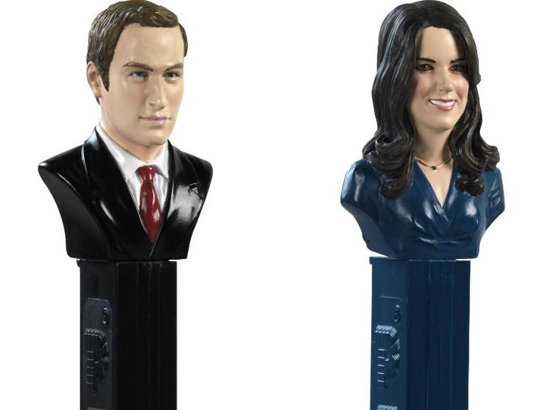 Pez-Spenderboxen mit den Köpfen von Prinz William und Kate. Foto: EPA/PEZ AG/Business Wire