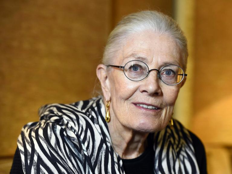 (FILES) This file photo taken on November 13, 2015 shows British actress Vanessa Redgrave in Paris.She has spent her life and her fortune supporting left-wing causes, but actress Vanessa Redgrave has found a new and unlikely hero in Angela Merkel. / AFP / BERTRAND GUAY
