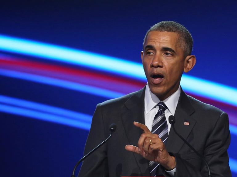 US President Barack Obama speaks during the official opening ceremony of the Hanover industry Fair at the Hannover Congress Center HCC in Hanover, on April 24, 2016.Obama is in Germany on the last leg of his tour of Europe and the Gulf, planning to underscore close ties with Chancellor Angela Merkel and make the case for a controversial transatlantic free trade agreement (TTIP). / AFP PHOTO / RONNY HARTMANN