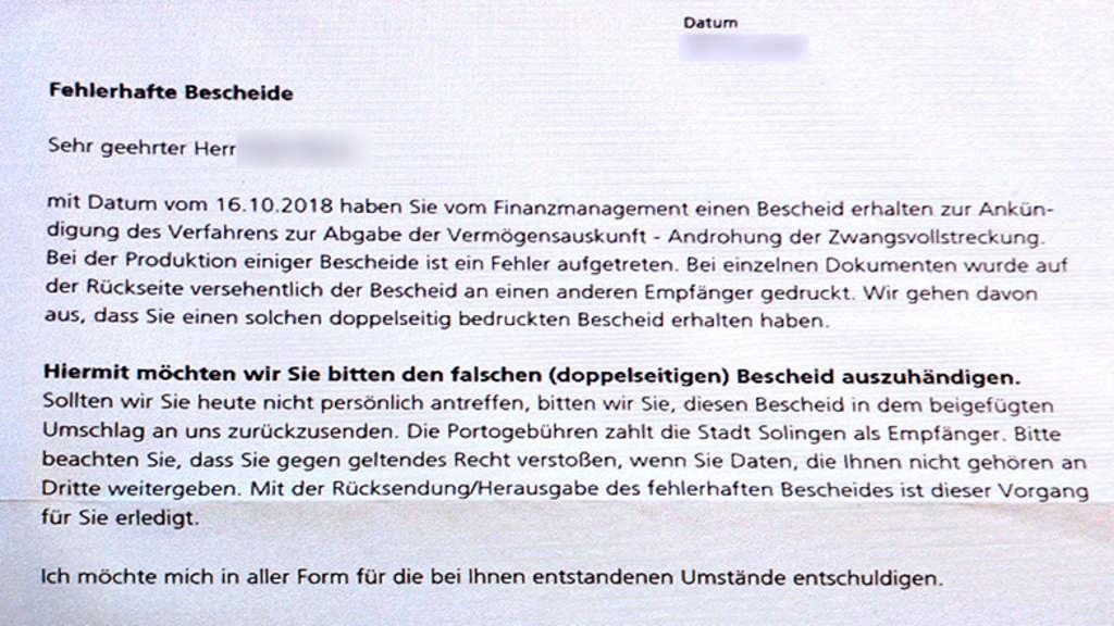 Stadt Solingen Verschickt Fehlerhafte Bescheide Solingen