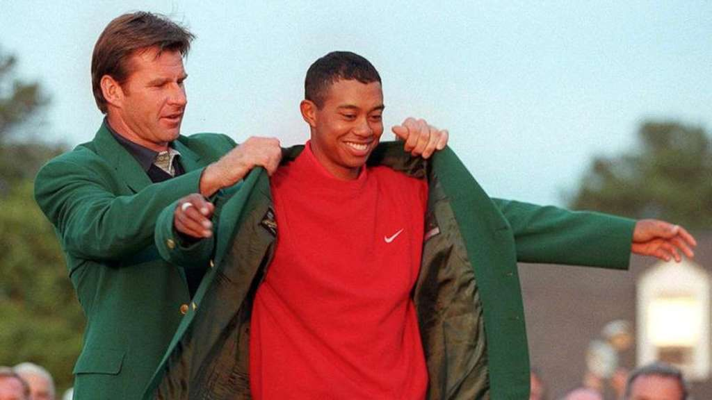 "Möchte sein fünftes ""Green Jacket"": Golf-Superstar Tiger Woods (r). Foto: Timothy A. Clary"